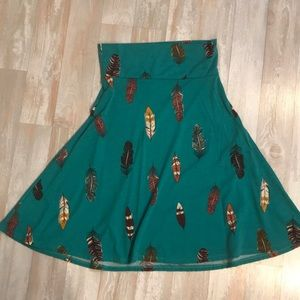 LulaRoe Skirt with Feathers